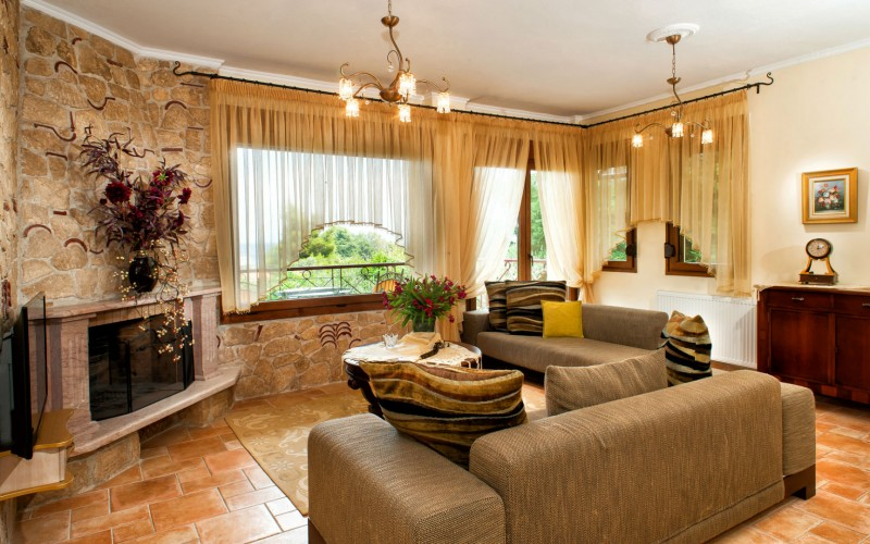 Pefkohori luxury villa living room