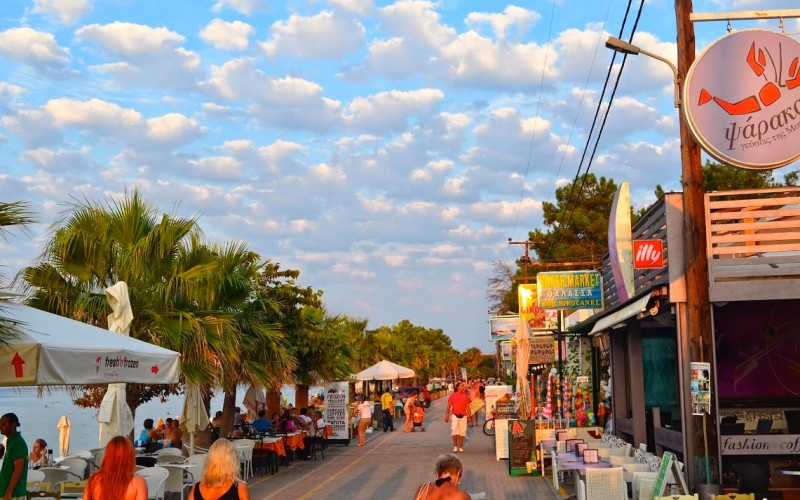 Pefkohori beach road with bars & restaurants