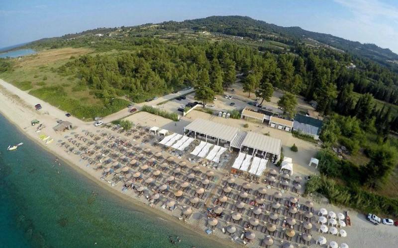 Umbrellas beach areal view Halkidiki