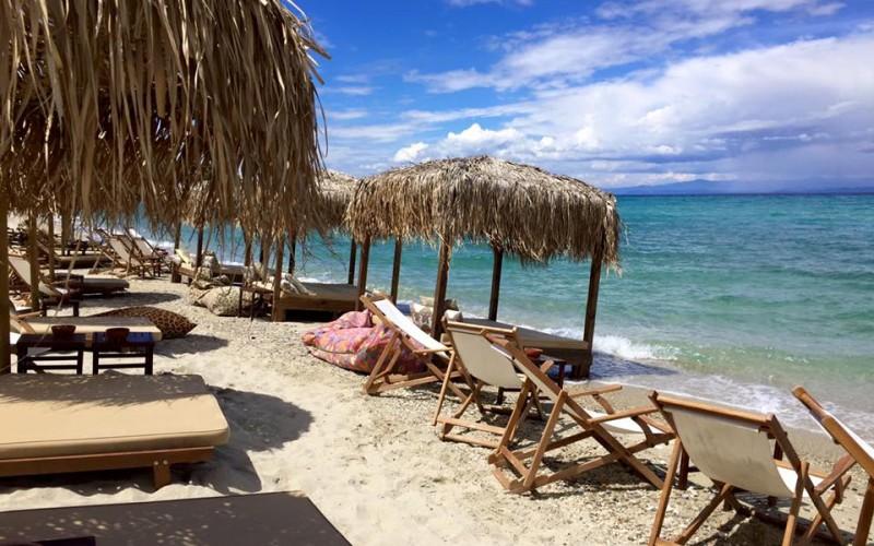 Exotic beach bar Chalkidiki Greece.