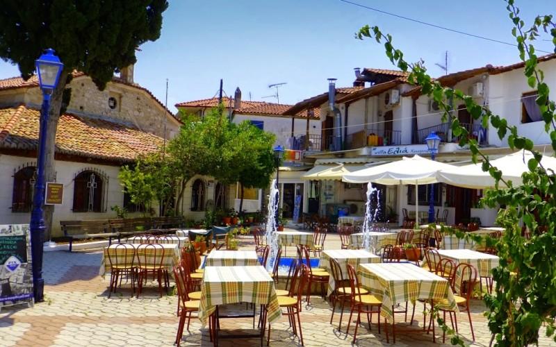 Pefkochori old village square & church
