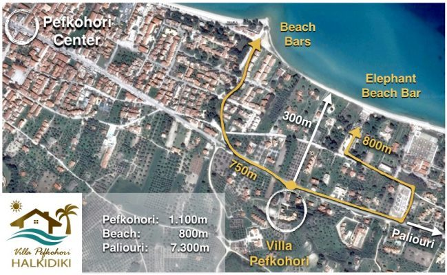 Villa Pefkochori local area map